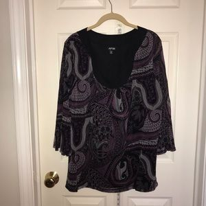 Black, Pink & Purple Paisely Long Sleeve Top